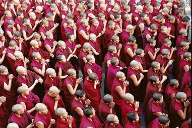 Rassemblement matinal avant les cours à Dolma Ling, centre d'étude pour les nonnes tibétaines en exil, près de Dahramsala